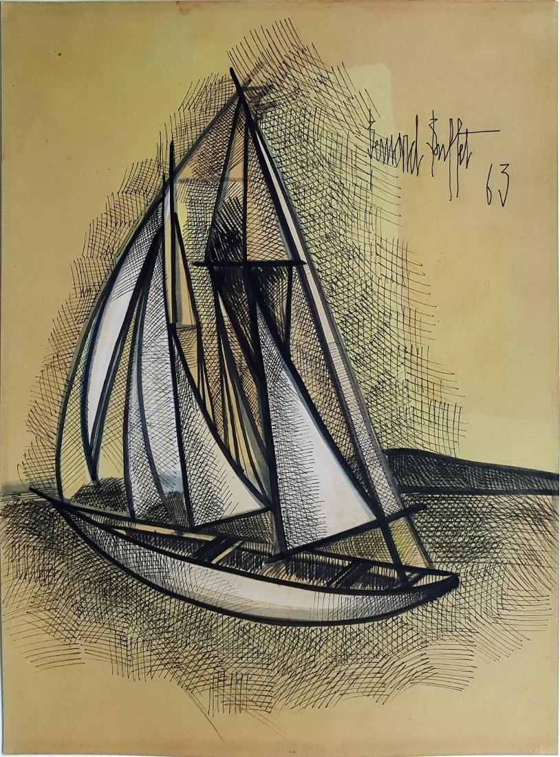 Bernard BUFFET mixed media on paper signed painting.