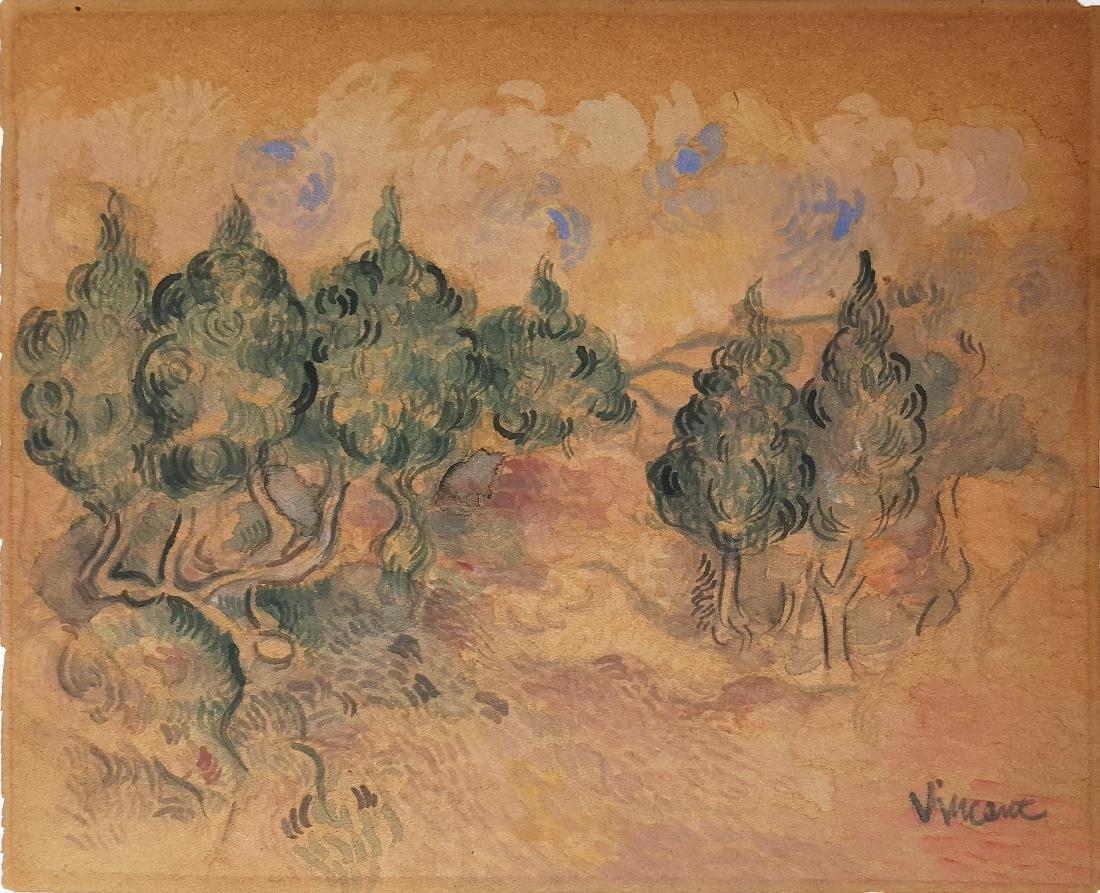 Gouache on paper signed Vincent