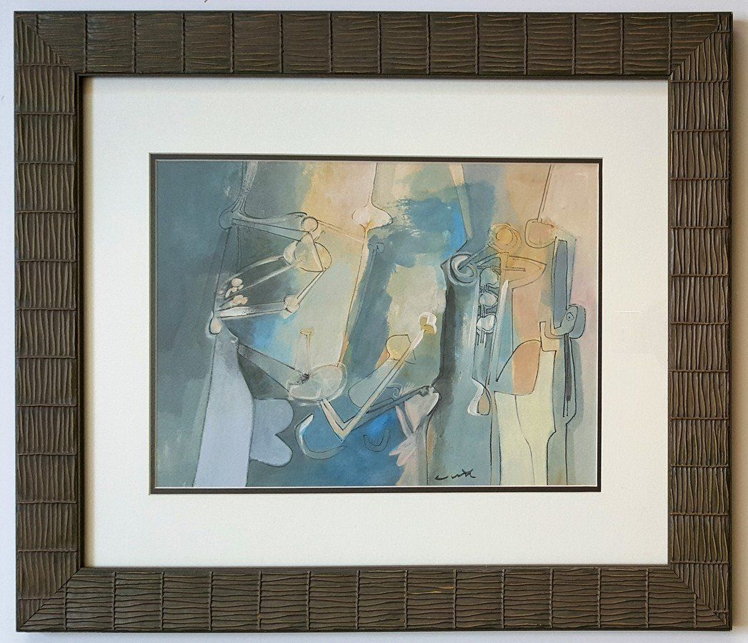 Roberto MATTA gouache on paper signed painting