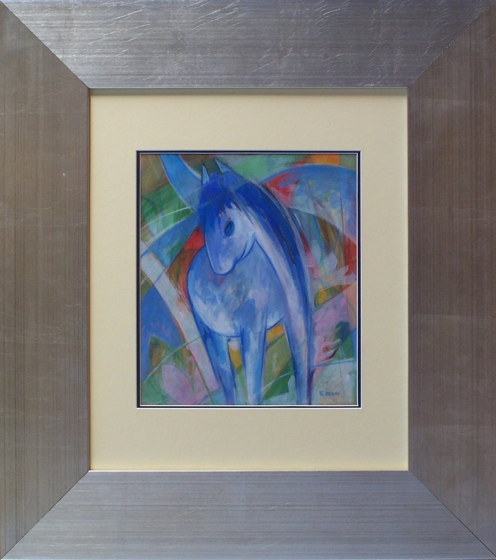 Franz Marc mixed media on paper signed painting