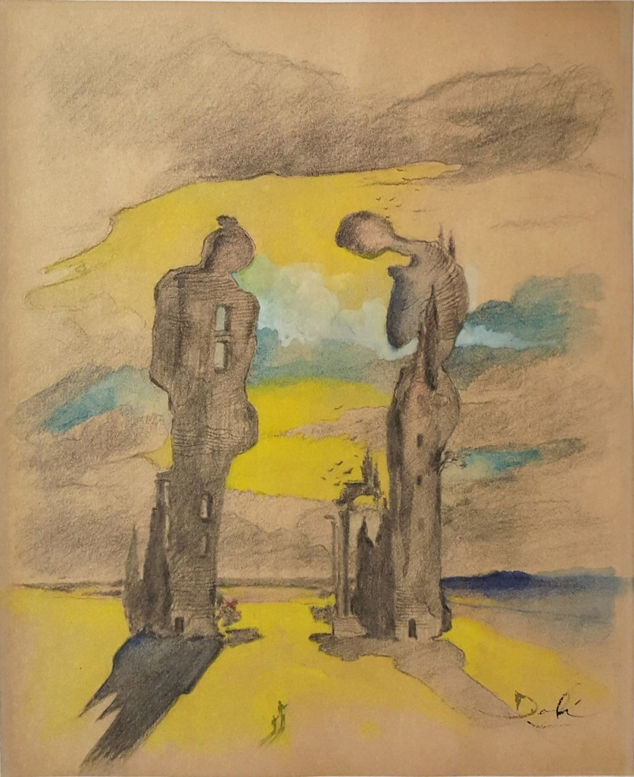 Salvador DALI mixed media on paper signed painting
