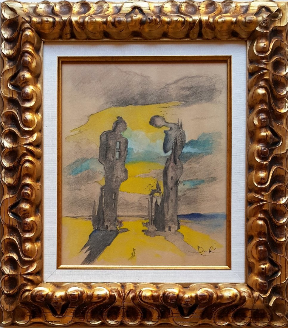 Salvador DALI mixed media on paper signed painting - 3