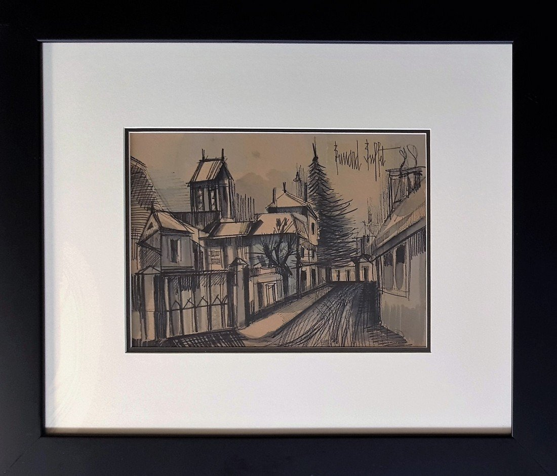Bernard BUFFET mixed media on paper signed painting