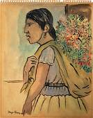 Diego Rivera mixed media on paper signed painting