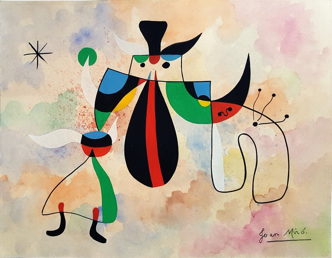 Joan MIRO gouache on paper signed painting