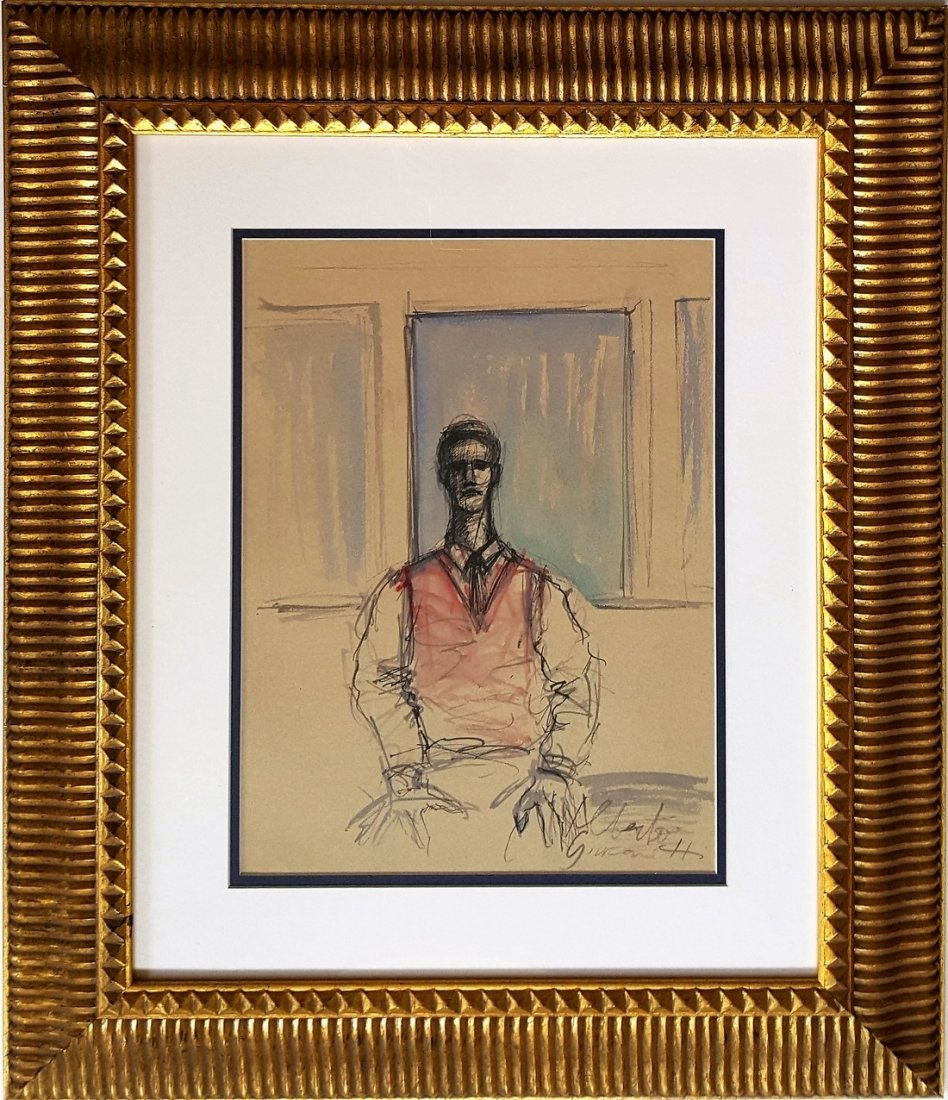 Alberto GIACOMETTI gouache on paper signed painting