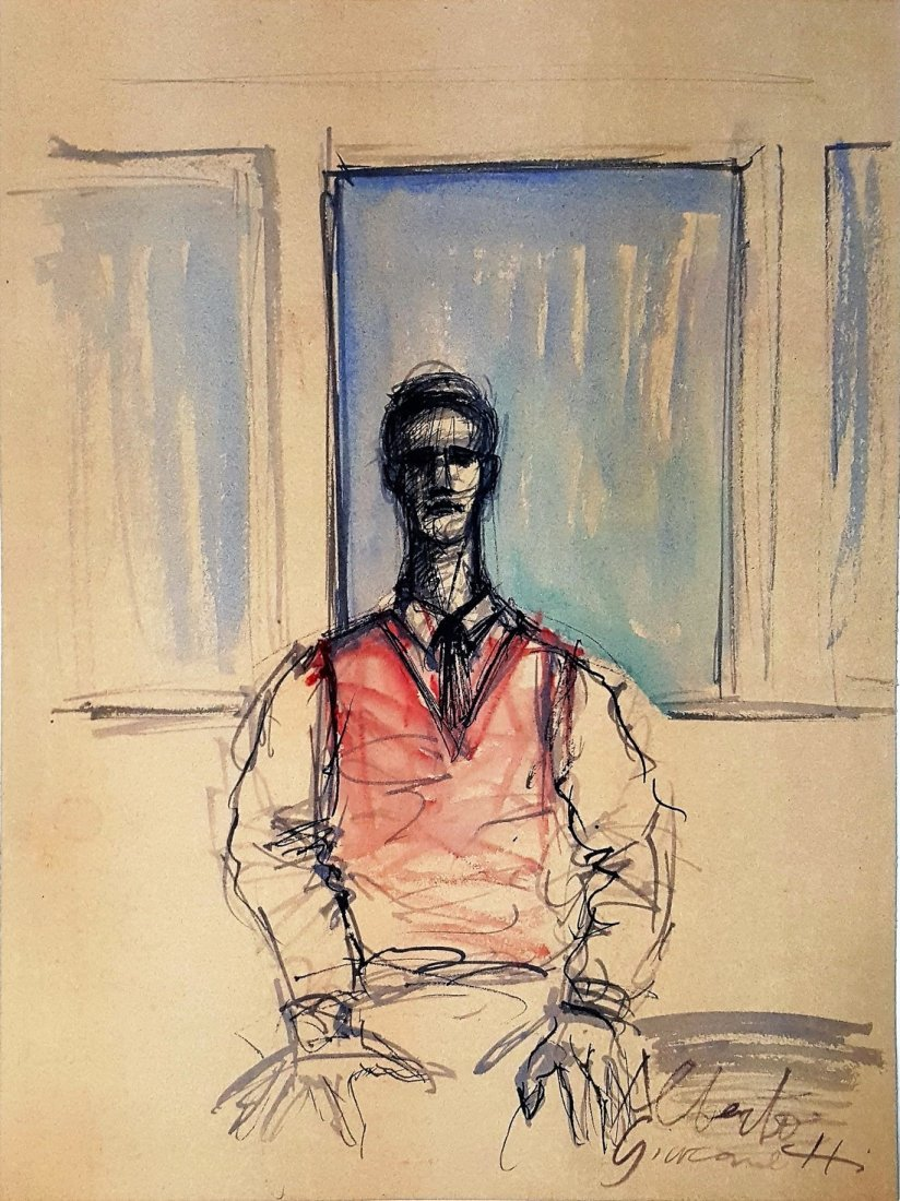 Alberto GIACOMETTI gouache on paper signed painting - 2