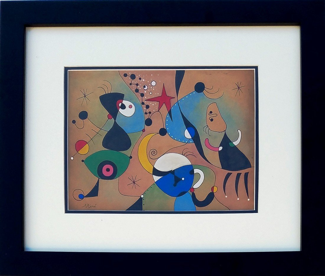 Joan Miro mixed media on paper signed painting