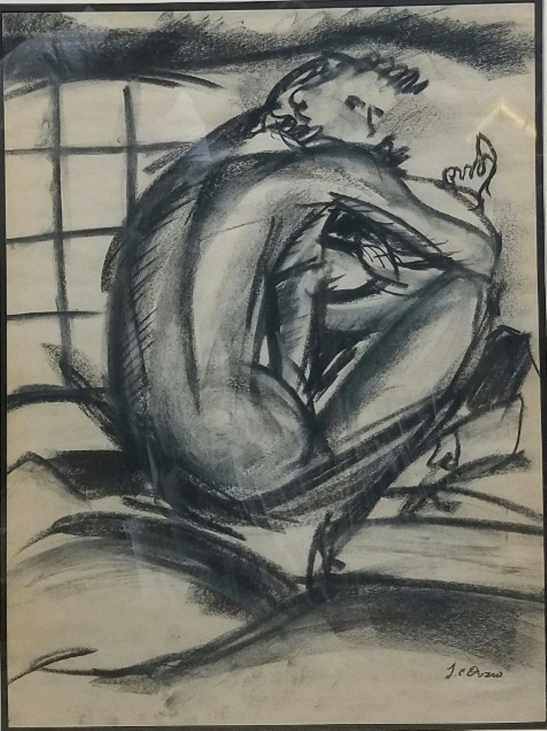 Jose Clemente Orozco charcoal on paper signed painting - 2