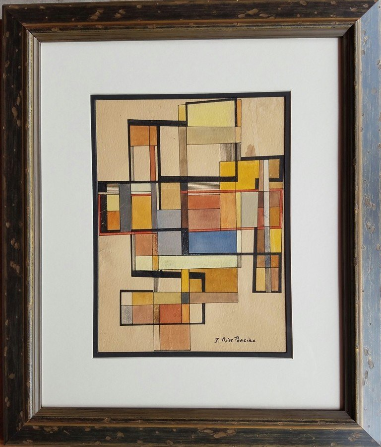 Irene Rice Pereira watercolor on paper signed painting