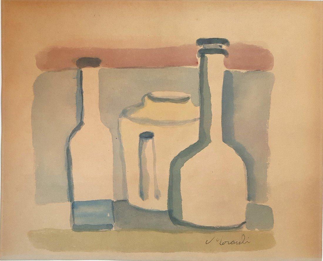 Giorgio Morandi watercolor on paper signed painting