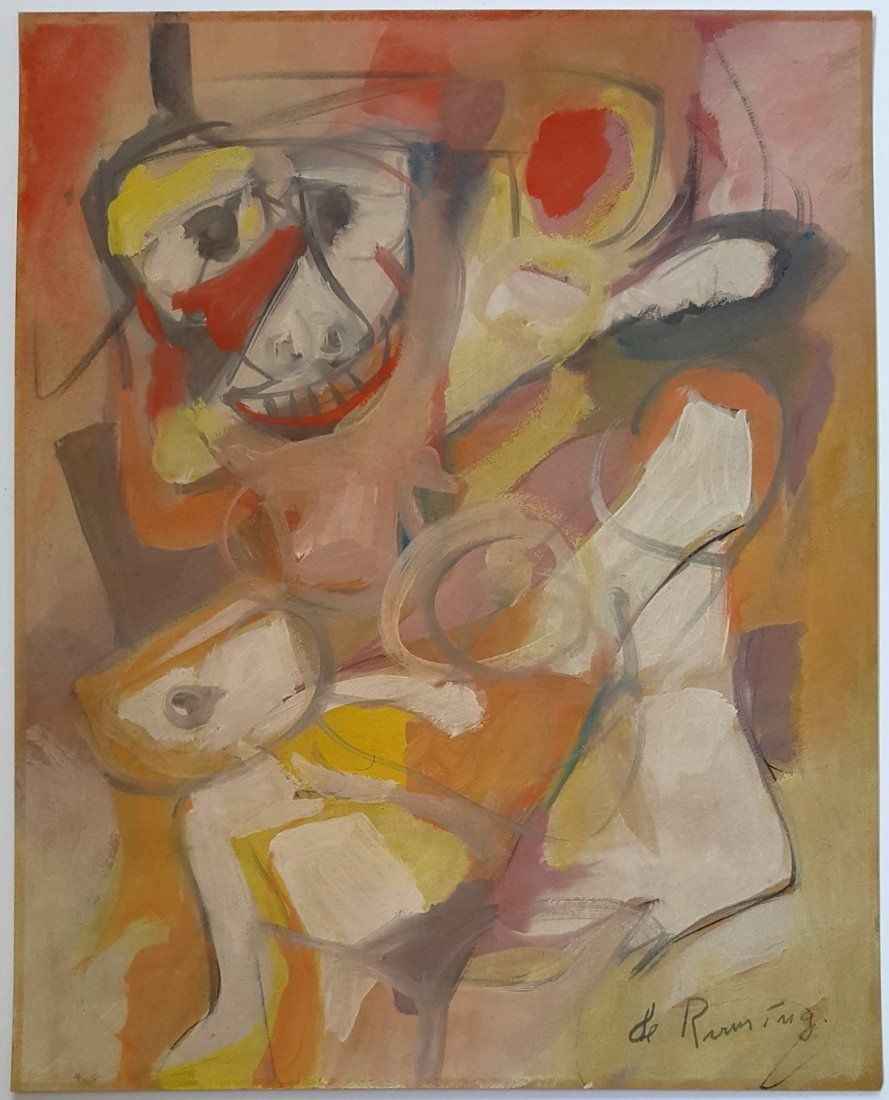 Willem DE KOONING gouache on paper signed painting