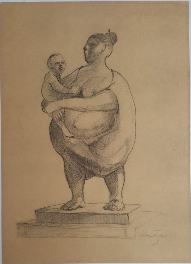 Francisco ZUNIGA CHAVARRIA pencil on paper signed - 2