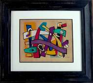 Joseph Fernand gouache and Ink on paper signed painting