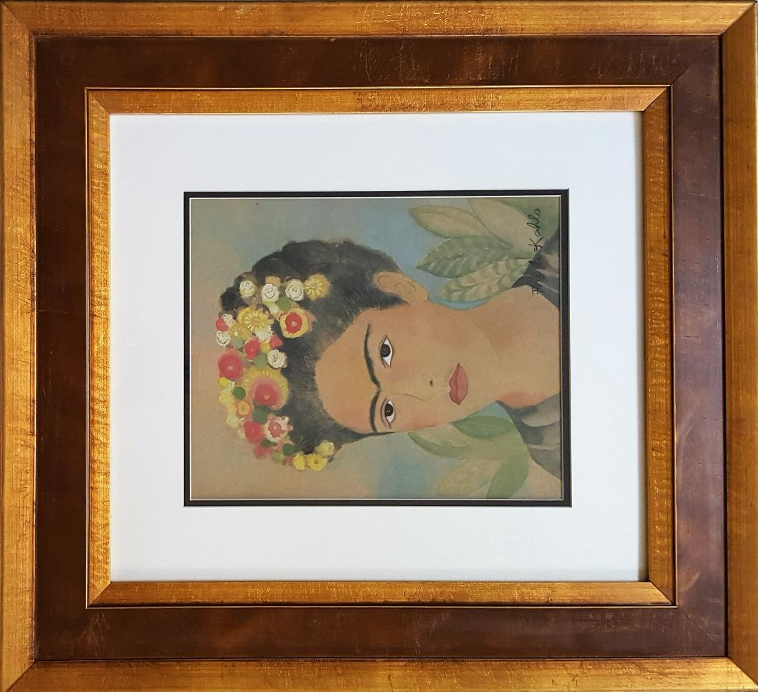 Frida Kahlo water color  on paper signed painting