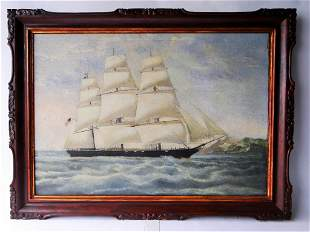 LARGE OIL PAINTING OF AN AMERICAN SHIP, FLYING THE