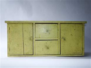 YELLOW PAINTED COUNTER CABINET, DOORS, COMPARTMENTS, 26