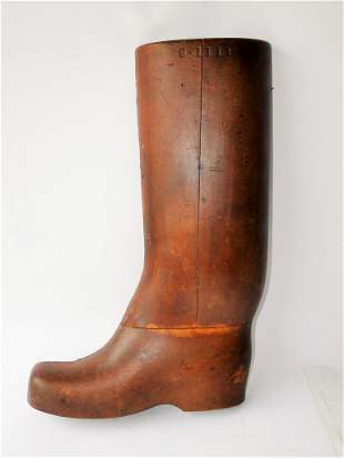 19TH C HORSE RIDING BOOT TRADE SIGN, 20 X 12