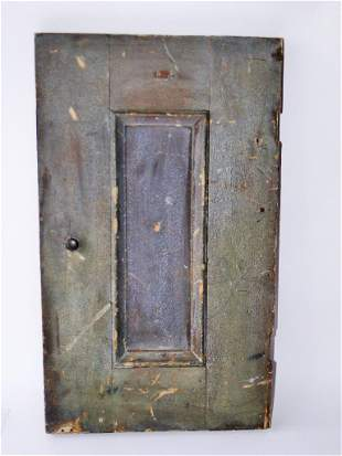 EARLY PAINTED PANELED DOOR, WALL CUPBOARD SIZE,