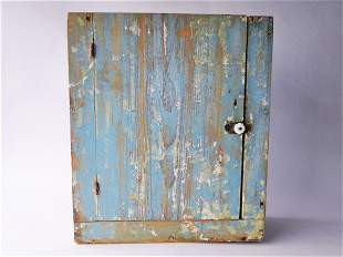 19TH C BLUE PAINTED HANGING WALL CUPBOARD, INTERIOR