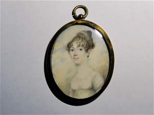 """CIRCA 1810 MINIATURE PAINTING OF A LADY, 2.75"""""""