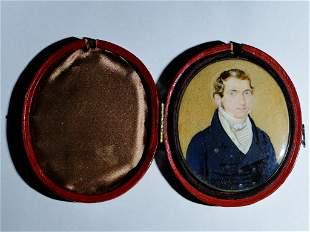 CIRCA 1810 PORTRAIT MINIATURE MAN , ORIGINAL CASE, BACK