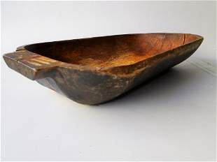 EARLY UNPAINTED TRENCHER BOWL, DARK OXIDIZED SURFACE,