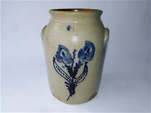 """19TH C TWO GALLON FLORAL DECORATED CROCK, 12"""""""