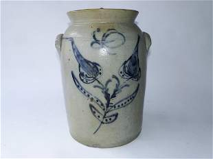 19TH C STONEWARE THREE GALLON CROCK, WITH LID, FLORAL