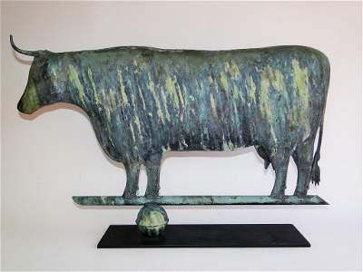 19TH C COPPER COW WEATHERVANE, APPLIED ZINC HORNS,