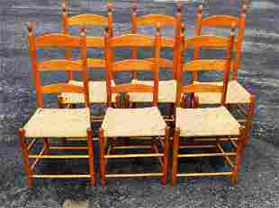 SET SIX SHAKER STYLE SIDE CHAIRS, LADDERBACK FORM WITH