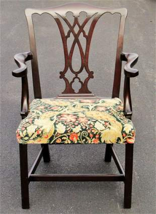 18TH C CHIPPENDALE FORMAL MAHOGANY ARM CHAIR, STRAIGHT