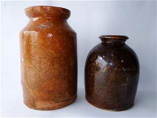 TWO 19TH C STONEWARE JARS