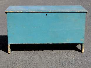 LATE 18TH C TEAL PAINTED BLANKET CHEST