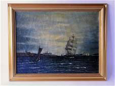 19TH C PAINTING OF A SAILING PORT O/C