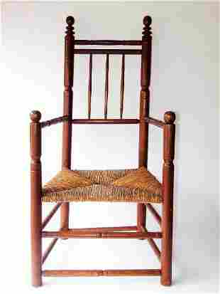 GREAT 17TH C PAINTED CARVER CHAIR