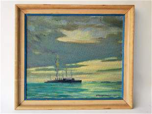 OIL PAINTING OF DESTROYERS SIGNED