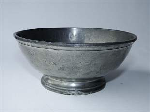 19TH C PEWTER NAVAL MESS BOWL