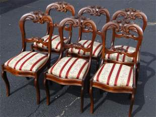 SET SIX VICTORIAN DINING CHAIRS