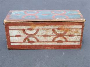 19TH C PAINT DECORATED FOLK ART BOX
