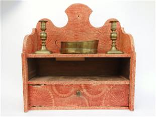 19TH C GRAIN PAINTED WALL BOX WITH LIGHTING