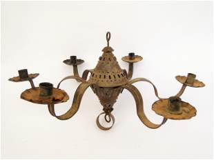 19TH C TIN CANDLE CHANDELIER