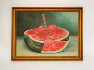 LATE 19TH C FOLK ART PAINTING OF A WATERMELON