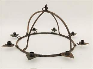 EARLY FORGED IRON CHANDELIER HEARTS