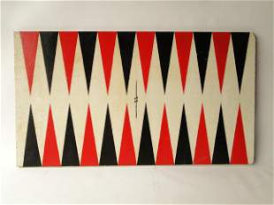 ANTIQUE PAINTED BACKGAMMON GAMEBOARD
