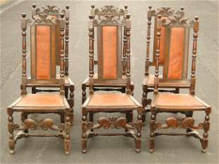 RARE SET OF SIX WILLIAM AND MARY SIDE CHAIRS