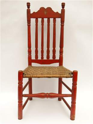 18TH C RED PAINTED BANISTER BACK SIDE CHAIR
