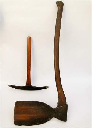 19TH C FRATERNAL FOLK ART WOODEN AX AND PICK