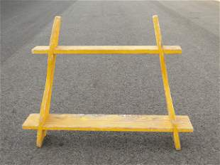 19TH C YELLOW PAINTED SHELVES