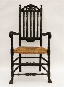 IMPORTANT CIRCA 1700 CARVED BANISTER BACK ARMCHAIR